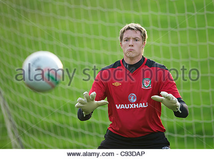 CARDIFF, WALES - Thursday, November 10, 2011: Wales' goalkeeper Wayne Hennessey during a training session at the - Stock Photo
