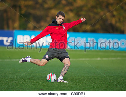 CARDIFF, WALES - Thursday, November 10, 2011: Wales' captain Aaron Ramsey during a training session at the Vale - Stock Photo