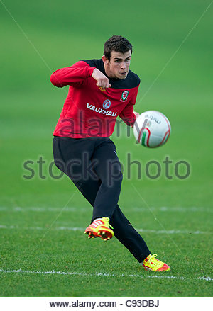 CARDIFF, WALES - Thursday, November 10, 2011: Wales' Gareth Bale during a training session at the Vale of Glamorgan - Stock Photo