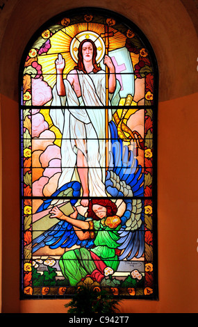 Prague, Czech Republic. Vysehrad Cemetery. Stained glass window in the arcade - Stock Photo