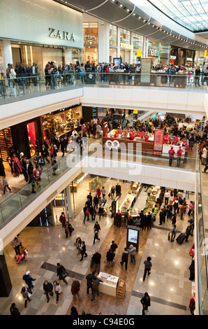 Shoppers in the Westfield shopping centre, Stratford London UK, general scene - Stock Photo