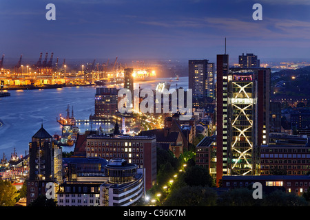 Panoramic view on Hamburg in the evening, Hanseatic city of Hamburg, Germany, Europe - Stock Photo