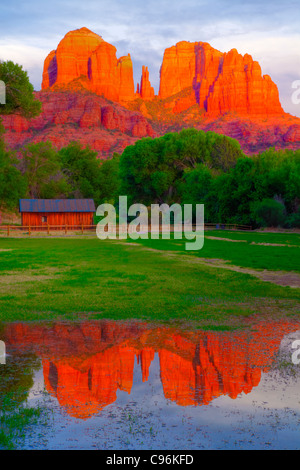 Meadow reflecting pool at Red Rock Crossing, Arizona, Coconino National Forest, Sedona, Cathedral Rock spires Oak - Stock Photo