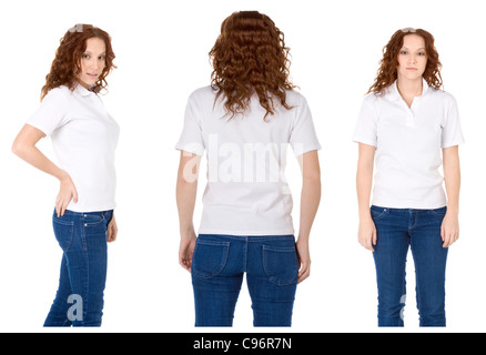 Fashion model in white t-shirt and blue jeans (Multiple angles) - Stock Photo