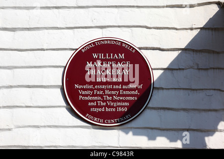 Plaque on house commemorating where novelist William Thackeray stayed in 1860, Royal Tunbridge Wells , Kent , England - Stock Photo