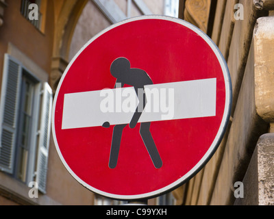 Italy, Rome, Stop sign modified with stealing man, close up - Stock Photo