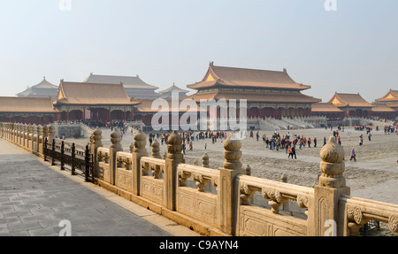 Back side of the Gate of Supreme harmony and the Outer court in the Forbidden City Beijing Peoples Republic of China - Stock Photo