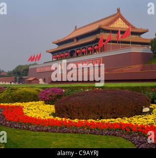 Flower garden at Tiananmen the Gate of Heavenly Peace entrance to Forbidden City Beijing Peoples Republic of China - Stock Photo