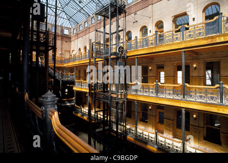 The 1893 Bradbury Building interior shows off the vintage architectural style of this historic downtown office building - Stock Photo