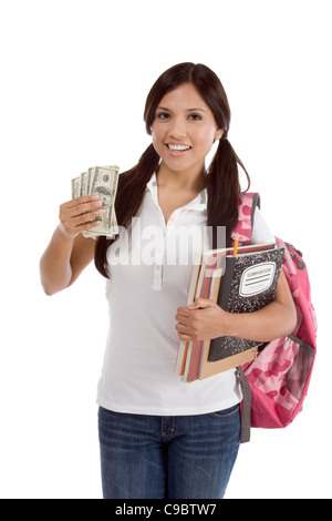 Ethnic Hispanic college student with notebook and backpack holds pile 100 (one hundred) dollar bills happy getting - Stock Photo