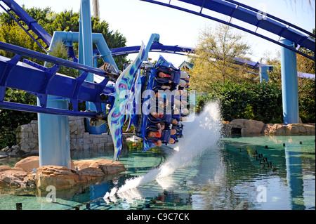 Sea World Adventure Theme Park Orlando Florida and the Manta roller coaster ride - Stock Photo