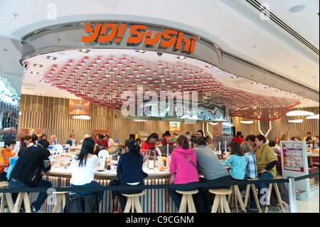 Yo Sushi restaurant at Westfield Stratford City shopping mall, London, England, UK - Stock Photo