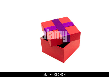 Isolated red purple opened present box - Stock Photo