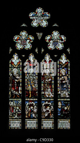Stained glass window by the Kempe Studios depicting Archangels; see Description - Stock Photo