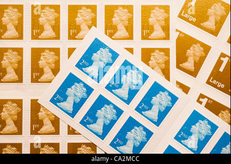 27 March 2012 A first-class postage stamp will rise 30%  in price from 46p to 60p from 30 April 2012 after the UK - Stock Photo