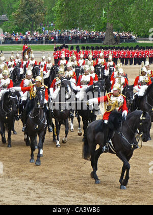 Trooping The Colour 2nd June 2012 - The Major General's Review, these are the Life Guards of the Household Cavalry. - Stock Photo