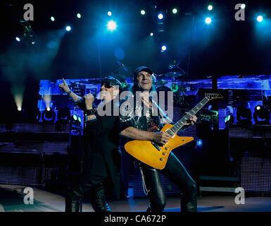 June 12, 2012 - Morrison, CO, USA - Lead Vocals KLAUS MEINE, left, and Guitarist MATTHIAS JABS, right, of the Scorpions - Stock Photo