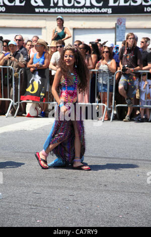 Participants march in the 30th annual 2012 Coney Island Mermaid Parade on Saturday, June 23, 2012 in Brooklyn, New - Stock Photo