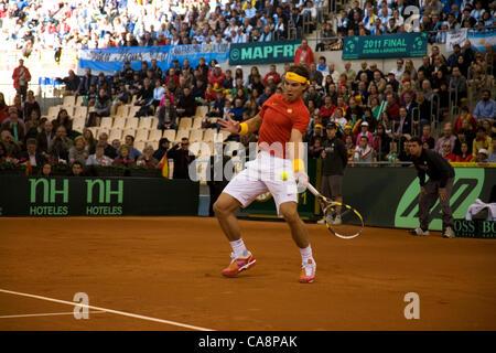 Davis Cup Final 4th match between Spanish player Rafael Nadal and Argentinian Juan Martin Del Potro at Cartuja Olympic - Stock Photo