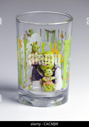 Jun. 04, 2010 - Avondale Estates, GEORGIA, U.S. - A McDonald's ''Shrek Forever After'' themed glasses recalled by - Stock Photo