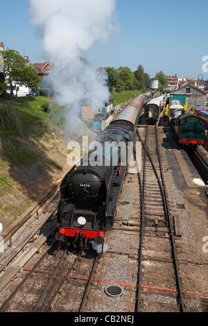 Swanage, UK Friday 25 May 2012. While 'Calbourne' hauls nostalgic freight trains, Southern Railway 1946-built West - Stock Photo