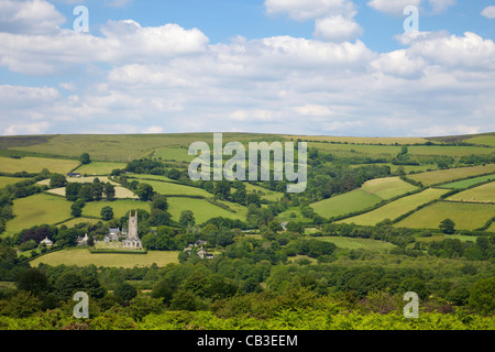 St Pancras Church,  Widecombe-in-the-Moor in summer sunshine, Dartmoor, Devon, South West England, UK, United Kingdom, - Stock Photo