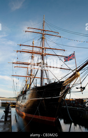 SS Discovery, RRS Discovery, Dundee, Scotland. Robert Falcon Scott sailed in the Discovery in the 1901-04 Antarctic - Stock Photo