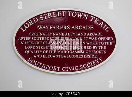 Lord Street Town Trail Plaque inside the Wayfarers Arcade Southport - Stock Photo