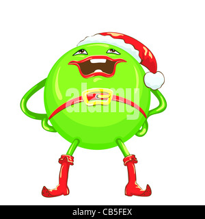 green ball in a red Christmas hat and boots with a smile stands legs apart and hands on hips, isolated on white - Stock Photo