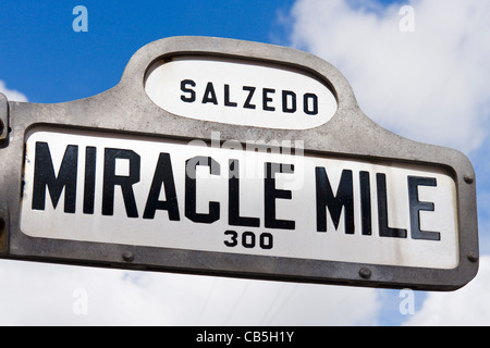 Street sign for the Miracle Mile (Coral Way), Coral Gables, Miami, Florida, USA - Stock Photo