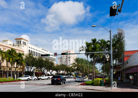 Shops on the Miracle Mile (Coral Way) in downtown Coral Gables, Miami, Florida, USA - Stock Photo