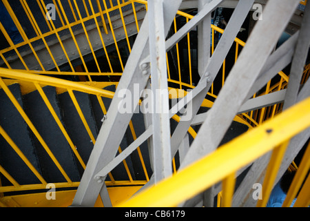 Staircase detail and iron work on the Eiffel Tower in Paris, France - Stock Photo