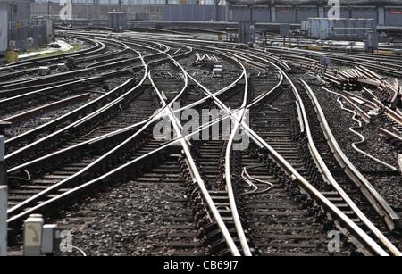 A complex layout of railway Tracks near Waterloo Station, London, UK - Stock Photo