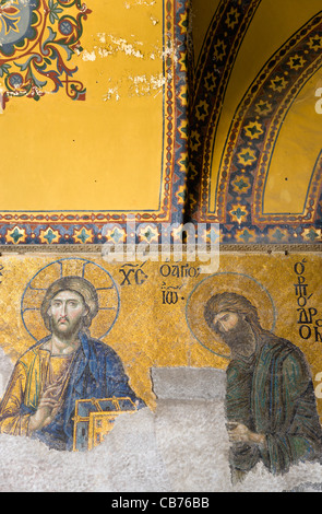 Turkey, Istanbul, Sultanahmet, Haghia Sophia mosaic of Jesus Christ and St John The Baptist in the South Gallery. - Stock Photo