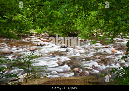 Fast flowing current on the Little River (near Townsend) in the Great Smoky Mountains National Park in Tennessee. - Stock Photo