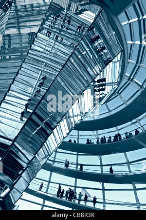 View of the glass dome above debating chamber at the Reichstag in Berlin Germany; Architect Norman Foster - Stock Photo