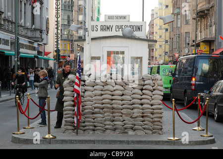 US Army checkpoint Charlie in Berlin, Germany - Stock Photo