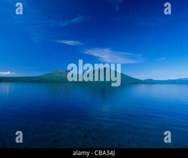 Mount Tarumae, Mount Fuppushi and Lake Shikotsu, Chitose, Hokkaido, Japan - Stock Photo