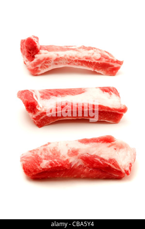 Raw pork spare ribs on a white background - Stock Photo