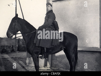 A German mounted soldier of WW11 - Stock Photo