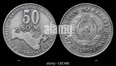 50 Som coin, Uzbekistan, 2001 - Stock Photo