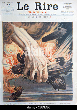 German Zeppelin Bombers Used in Air Raids in First World War. Cover of War Ed of French Satirical Magazine 'Le Rire', - Stock Photo