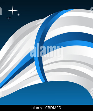 Finland flag illustration fluttering on a blue background. Vector file available. - Stock Photo