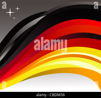 Germany flag illustration fluttering on a gray background. Vector file available. - Stock Photo