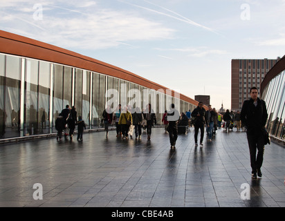Walkway from Stratford Station East London to the Westfield Shopping Centre Site of the London Olympics 2012 - Stock Photo