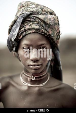 Young Mukubal Woman With Headscarf - Stock Photo