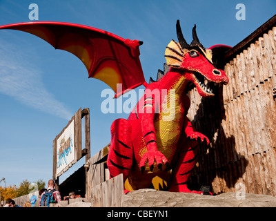 Model of a red dragon in Legoland, Windsor, Berkshire, UK - Stock Photo