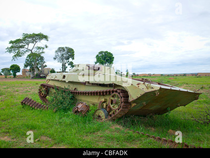Tank Wreck From The Civil War In The Village Of Caconda, Angola - Stock Photo