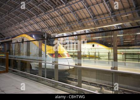 eurostar trains at st pancras international rail station london england united kingdom uk - Stock Photo