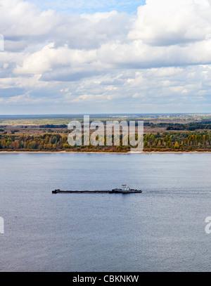 Panorama of the River Volga in Nizhny Novgorod, Russia. Cargo ship sailing on the water - Stock Photo